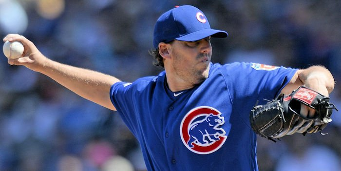 Chicago Cubs starting pitcher John Lackey breezed through the Los Angeles Angels batting order on Tuesday.