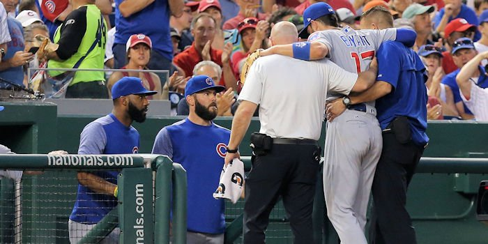 Kris Bryant's freak ankle injury could spell disaster for the Chicago Cubs. Credit: Geoff Burke-USA TODAY