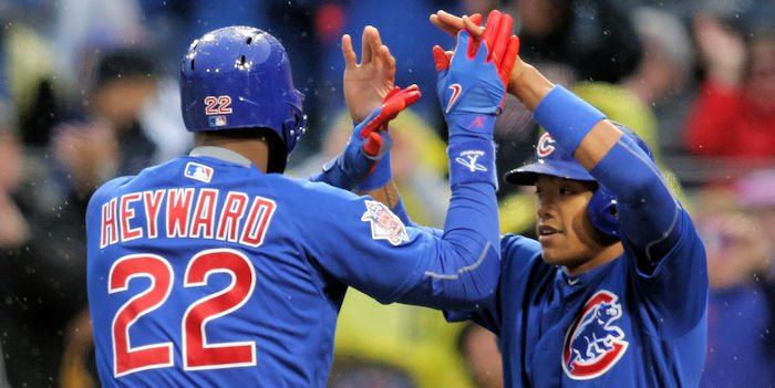 Jason Heyward was one of the few bright spots for Chicago on the night, making one of the top plays of the year in the outfield.