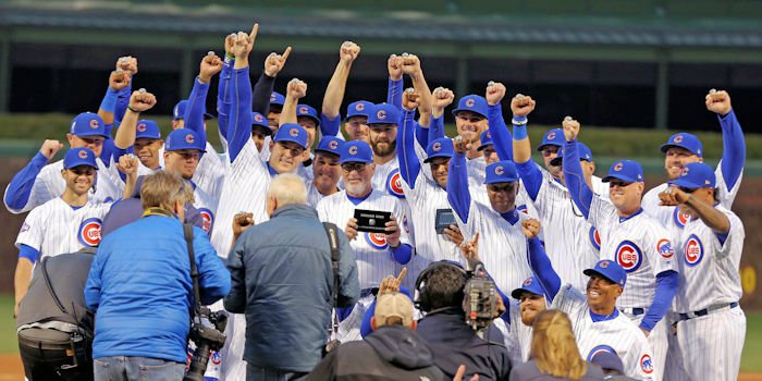 The Chicago Cubs celebrate receiving their 2016 World Series championship rings before the game against the Los Angeles Dodgers at Wrigley Field - Dennis Wierzbicki-USA TODAY Sports