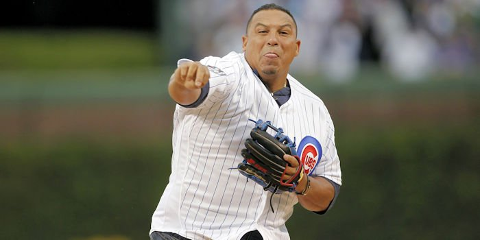 Zambrano throwing out the 1st pitch in 2017 (Caylor Arnold - USA Today Sports)