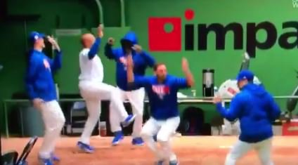 WATCH: Cubs bullpen including Lackey hilariously dance after homer