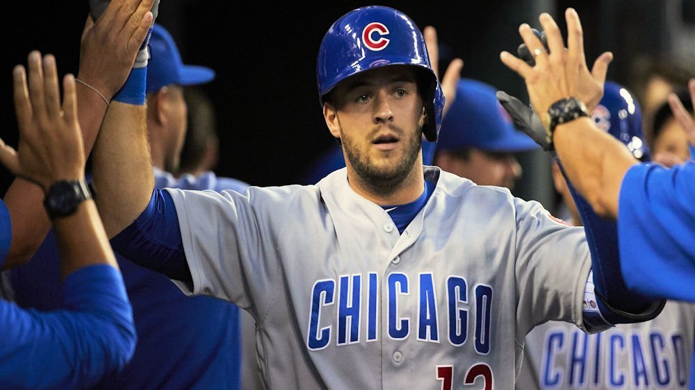 Third baseman David Bote hit one of three home runs accrued by the Chicago Cubs in their win over the Detroit Tigers. (Photo Credit: Rick Osentoski-USA TODAY Sports)