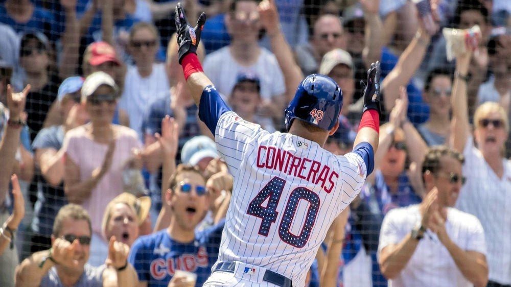 Willson Contreras led the Cubs to victory with three RBI on the afternoon. (Photo Credit: Patrick Gorski-USA TODAY Sports)