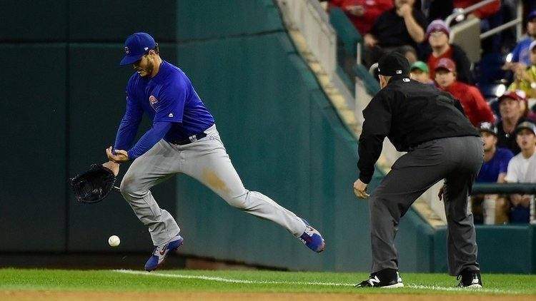 Anthony Rizzo went all out on defense, going to the ground in order to out a baserunner. (Credit: Tommy Gilligan-USA TODAY Sports)