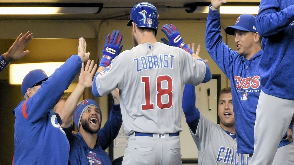 Ben Zobrist ricocheted a homer off the right-field foul pole to give the Cubs a lead that they never gave up. (Photo Credit: Benny Sieu-USA TODAY Sports)