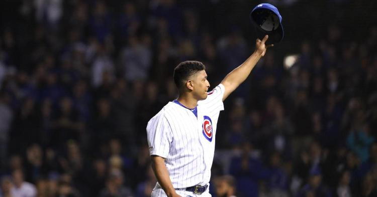 Adbert Alzolay was mocked by his teammates after tipping his cap quite emphatically. (Credit: @Cubs on Twitter)