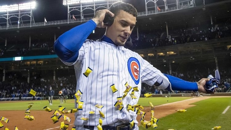 An avid chewer of gum, Javier Baez had a bucket of bubble gum dumped onto him by his teammates after the walk-off win. (Credit: Patrick Gorski-USA TODAY Sports)