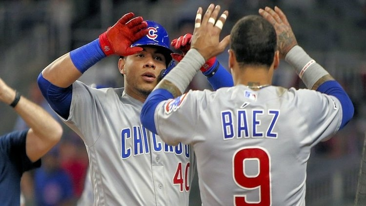 Willson Contreras and Javier Baez teamed up to out an attempted base stealer. (Credit: Brett Davis-USA TODAY Sports)
