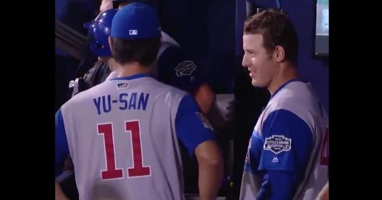 Yu Darvish translated for Anthony Rizzo when Rizzo gave his home-run ball to a Japanese little leaguer.