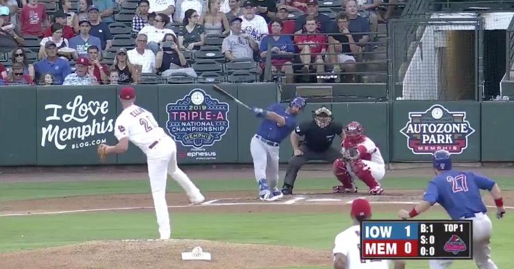 Chicago Cubs infielder Daniel Descalso hit a 2-run home run in his first at-bat with the Iowa Cubs.