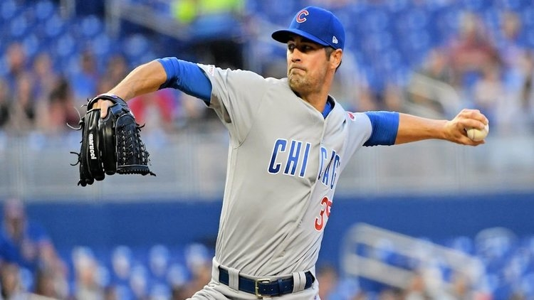The Miami Marlins had no answers for Chicago Cubs starting pitcher Cole Hamels. (Credit: Jason Vinlove-USA TODAY Sports)