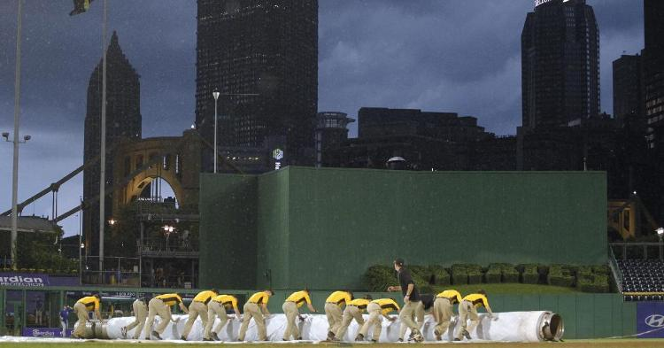 A squall at PNC Park resulted in a rain delay that spanned a little over two hours on Tuesday night. (Credit: Charles LeClaire-USA TODAY Sports)