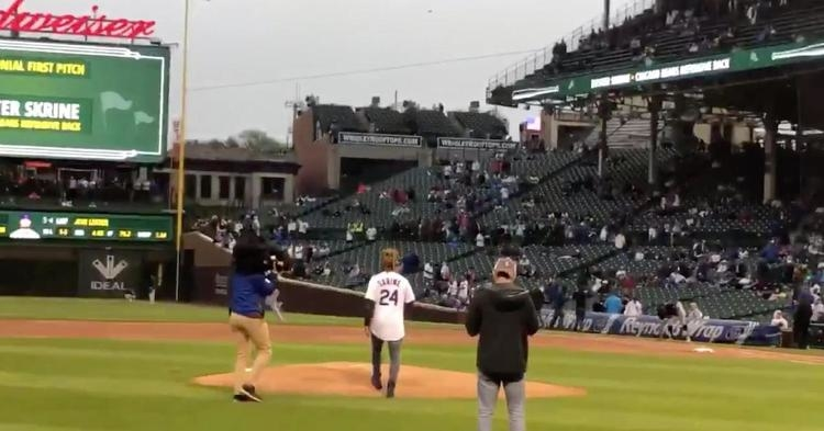 New Bears cornerback Buster Skrine threw out the first pitch at the Crosstown Classic on Wednesday.