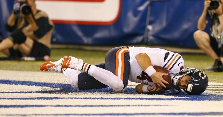 Chicago Bears quarterback Chase Daniel was forced to give himself up for a safety as a result of a botched snap. (Credit: Noah K. Murray-USA TODAY Sports)