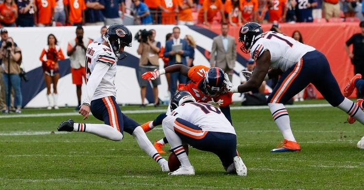 Establishing himself as a legitimate starting kicker, the Chicago Bears' Eddy Pineiro made a 53-yard field goal as time expired. (Credit: Isaiah J. Downing-USA TODAY Sports)