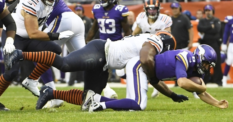 The Chicago Bears' defense racked up six sacks of Minnesota Vikings quarterback Kirk Cousins. (Credit: David Banks-USA TODAY Sports)
