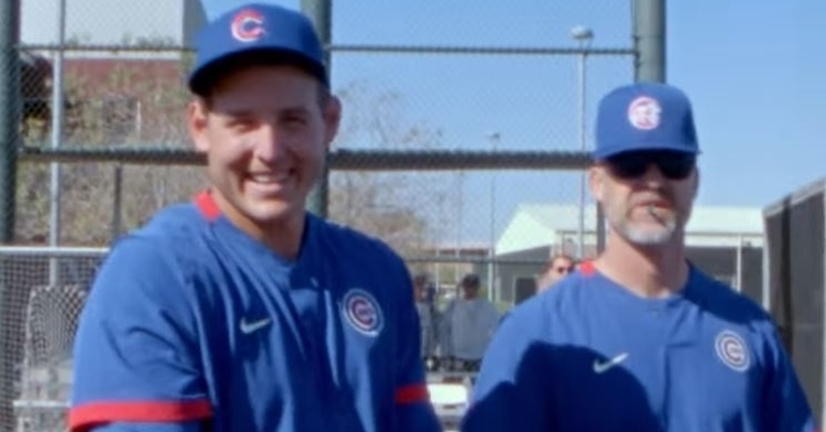 Rizzo and Rossy sharing a moment during spring training