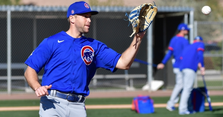 Chicago Cubs relief pitcher Jason Adam was charged with an error for making an awful throw to second base. (Credit: Matt Kartozian-USA TODAY Sports)
