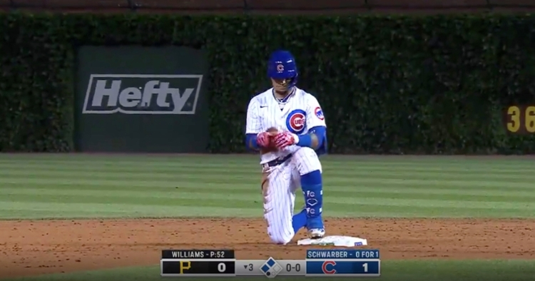 Javier Baez reached second base on a bunt single that led to a throwing error. A run scored as a result of the error.