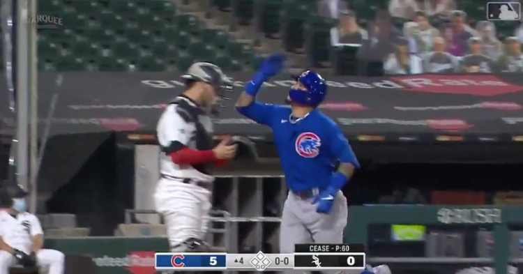 Cubs shortstop Javier Baez sent a 97-mph fastball from Dylan Cease into the bleachers at Guaranteed Rate Field.