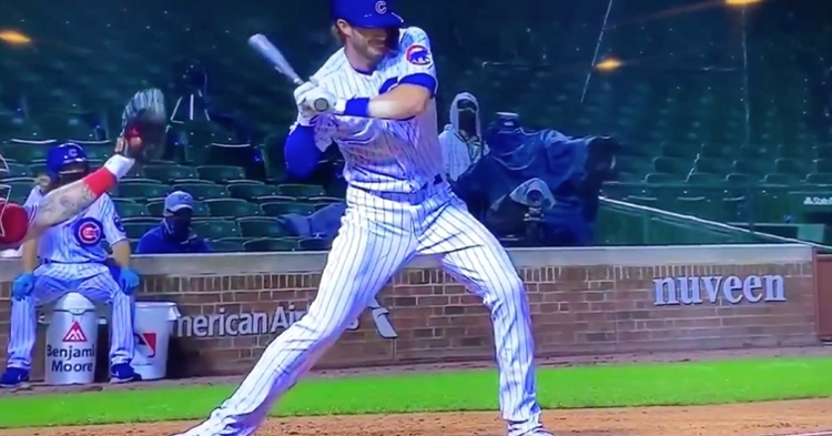 Kris Bryant was plunked by the first pitch of his third-inning plate appearance and remained in the game.