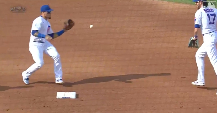 Javier Baez was on the receiving end of two impressive glove flips that both culminated in double plays.