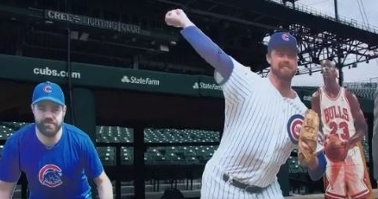 WATCH: Cubs have fun BP hitting cut-outs of Michael Jordan, Bill Murray, and others