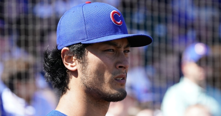 Cubs starter Yu Darvish struggled in the first inning on Monday night. (Credit: Rick Scuteri-USA TODAY Sports)