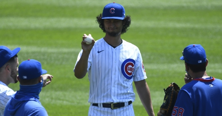 Cubs starting pitcher Yu Darvish was unable to settle into a groove in his 2020 regular season debut. (Credit: Matt Marton-USA TODAY Sports)