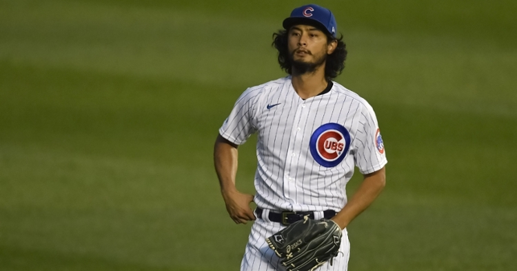 Despite striking out nine and giving up just two hits, Cubs right-hander Yu Darvish was named the losing pitcher. (Credit: Quinn Harris-USA TODAY Sports)