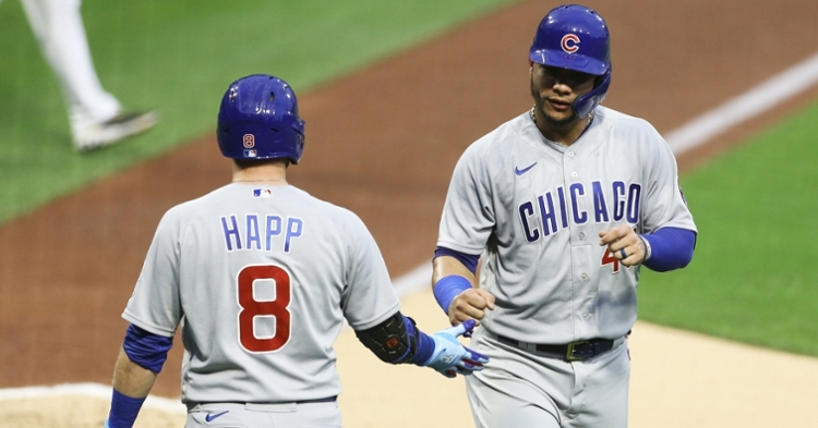 The Cubs overcame a Pirates comeback and a lengthy weather delay en route to winning in extras. (Credit: Charles LeClaire-USA TODAY Sports)