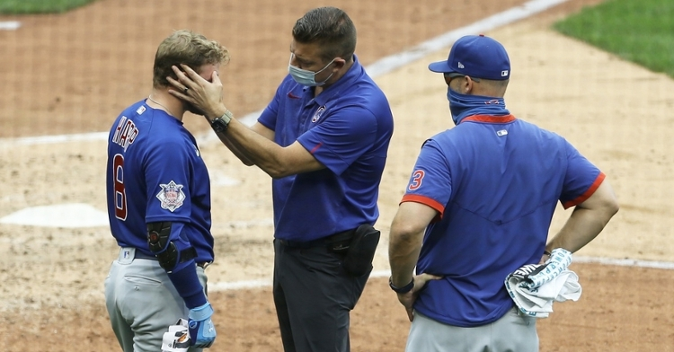 Ian Happ was forced to exit Thursday's Cubs-Pirates game after being hit in the face by a foul ball. (Credit: Charles LeClaire-USA TODAY Sports)