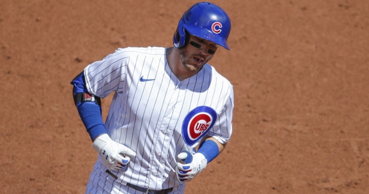 Ian Happ went yard in Chicago's first at-bat as part of an otherwise stale plate performance by the Cubs. (Credit: Kamil Krzaczynski-USA TODAY Sports)