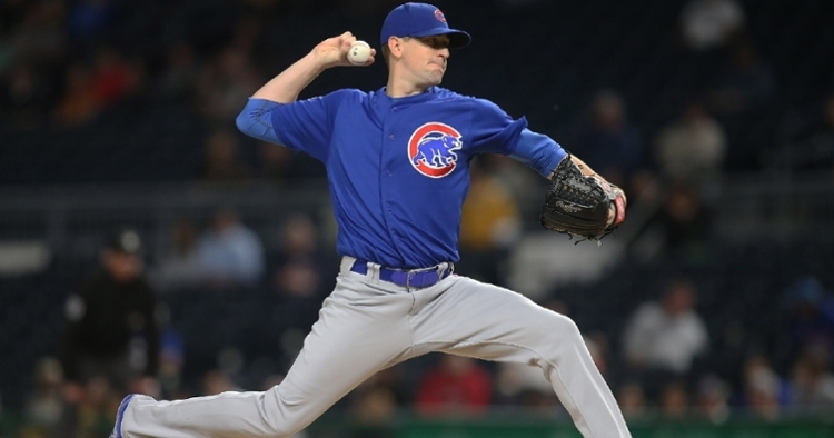 Kyle Hendricks was on the receiving end of a botched prank after pitching a shutout. (Credit: Charles LeClaire-USA TODAY Sports)