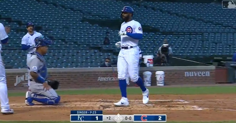 Jason Heyward went yard for the first time in the 2020 season with a 412-foot blast.