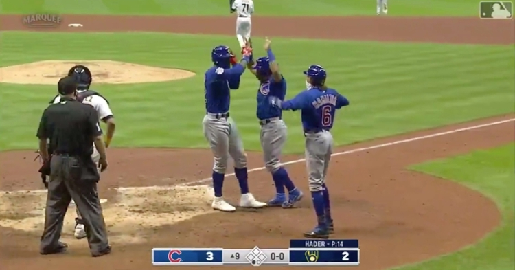 Jason Heyward clobbered a 416-foot three-run shot that put the Cubs up 3-2 in an eventual 4-2 victory.