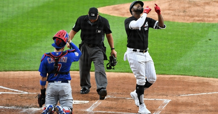 Former Cubs prospect Eloy Jimenez capped off the four-homer stretch for the White Sox. (Credit: Mike Dinovo-USA TODAY Sports)
