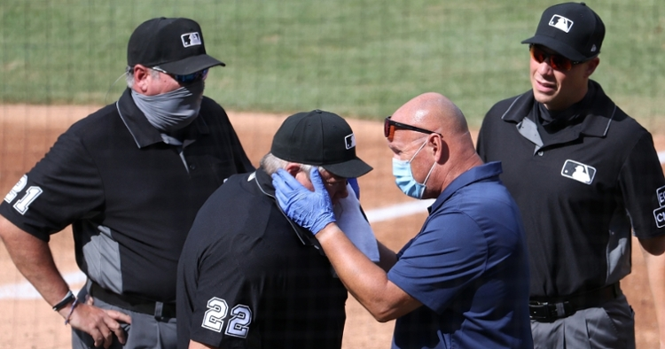 Umpire Joe West was forced to exit a game after getting hit in the side of the head with a bat. (Credit: Geoff Burke-USA TODAY Sports)