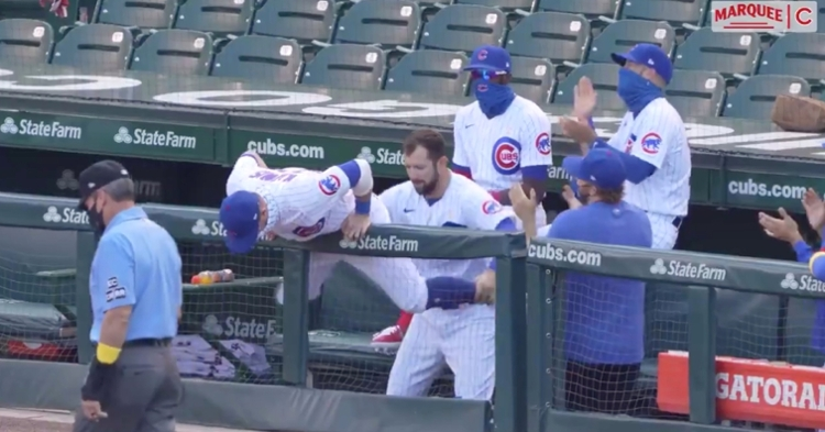 During the Chicago Cubs-St. Louis Cardinals game at Wrigley Field on Saturday, a funny dance routine was performed.