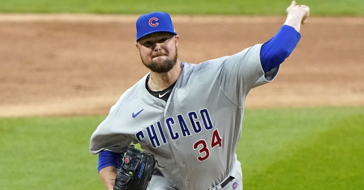 In his final start of the regular season, Cubs lefty Jon Lester lasted only 3 2/3 innings on the mound. (Credit: Mike Dinovo-USA TODAY Sports)
