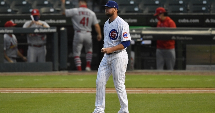 Cubs lefty Jon Lester was hindered by the wind in a lackluster start that did not go his way. (Credit: Quinn Harris-USA TODAY Sports)