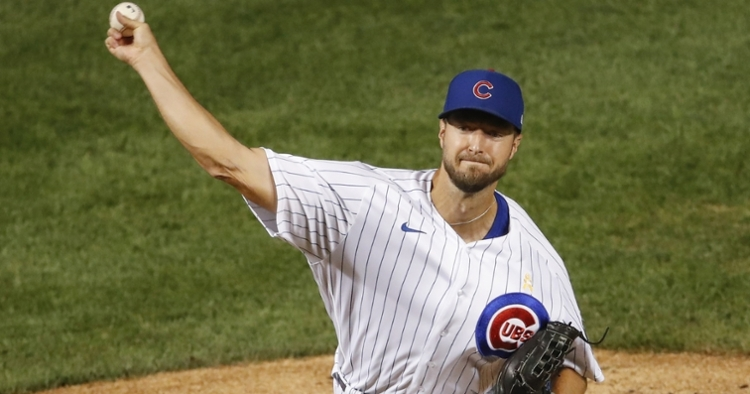 Making his second start of the season, Colin Rea lasted only two innings on the mound for the Cubs. (Credit: Kamil Krzaczynski-USA TODAY Sports)