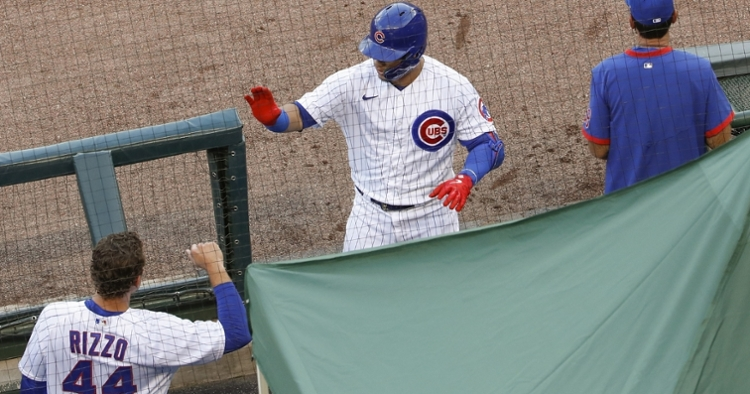 Willson Contreras and Anthony Rizzo boasted plenty of power at the plate on Wednesday. (Credit: Kamil Krzaczynski-USA TODAY Sports)