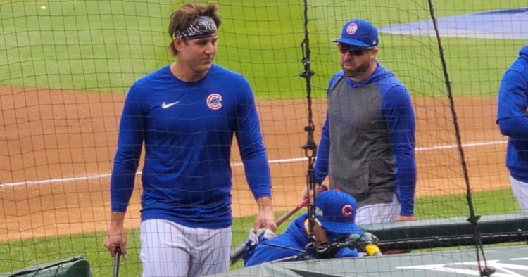 Rocking straight locks, Anthony Rizzo changed his hairstyle prior to Game 2 against the Marlins. (Credit: @EliseMenaker on Twitter)