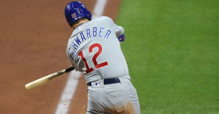 Kyle Schwarber responded quite emphatically after being benched on Sunday, as he hit two crucial doubles on Monday. (Credit: Charles LeClaire-USA TODAY Sports)