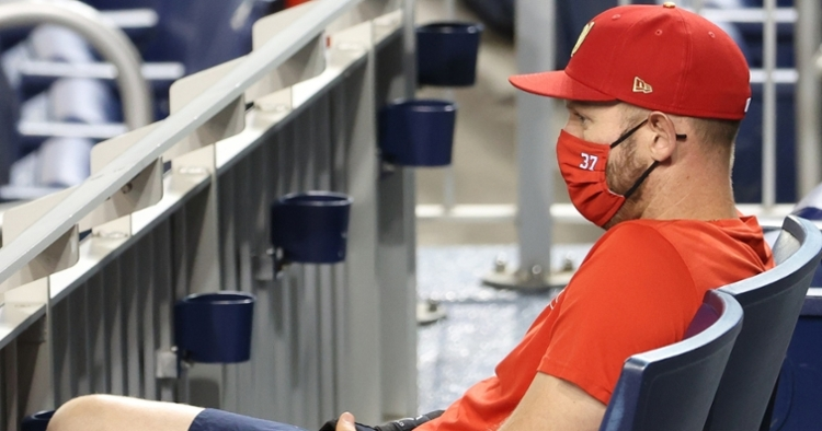 Nationals pitcher Stephen Strasburg was thrown out of a game while sitting in the stands. (Credit: Geoff Burke-USA TODAY Sports)