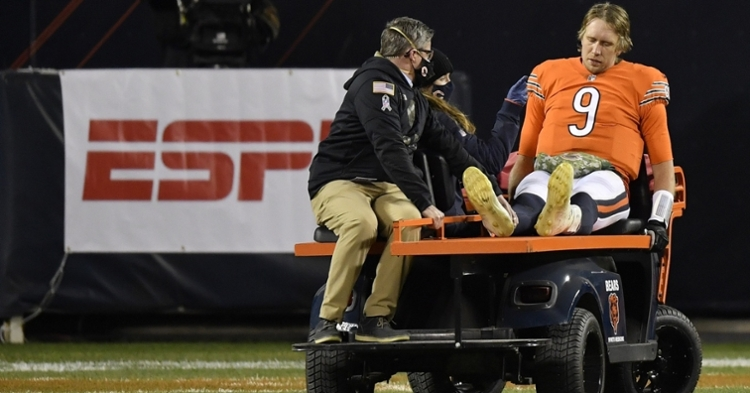Bears quarterback Nick Foles was carted off the field after being thrown to the ground with under a minute to play. (Credit: Quinn Harris-USA TODAY Sports)