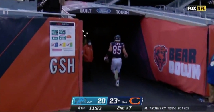 Rookie tight end Cole Kmet ran up the tunnel at Soldier Field after scoring his second career touchdown.