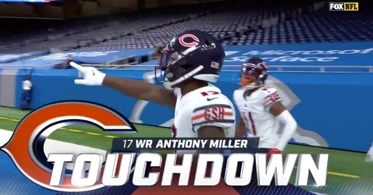 Anthony Miller caught a 27-yard touchdown pass that helped the Bears come back and beat the Lions.